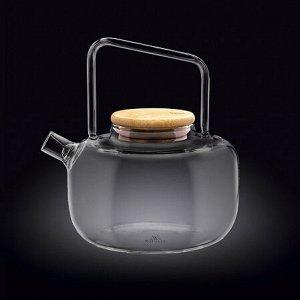 WILMAX Thermo Glass Заварочный чайник с деревянной крышкой 1200мл WL?888822/A