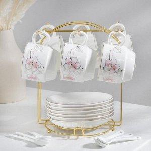 Сервиз чайный «Роза», 19 предметов: 6 чашек 170 мл, 6 блюдец 13,5 см, 6 ложек, на металлической подставке