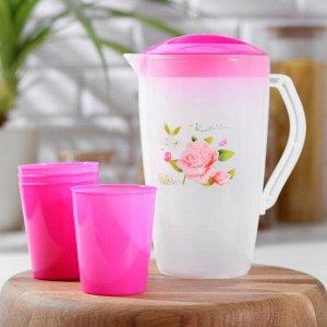 Набор питьевой «Оазис», 5 предметов: кувшин 1,5 л, 4 стакана 200 мл, 17?13?20 см, цвет МИКС