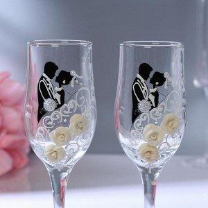 Набор свадебных бокалов «Жених и невеста» с лепкой, 200 мл, чёрно-белый