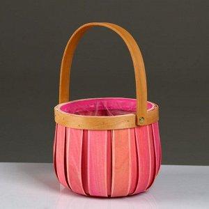 Корзина плетеная, секвойя, D16xH13/26 см, розовый
