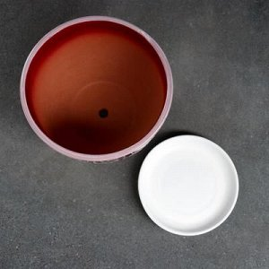 Горшок цветочный Абстракция красная 2,5 л