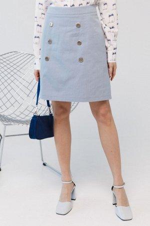 Юбка Лия Юбка Лия  Состав: 95% Хлопок 5% Эластан Другие свойства: : Стильная юбка из джинсового полотна.  Особенности модели: Модель А-силуэта на притачном поясе. По переду декоративные швы с имитаци