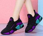 Кроссовки женские, цвет чёрный с фиолетовыми и зелеными вставками