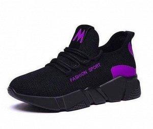 Кроссовки женские, цвет чёрный, с фиолетовыми вставками