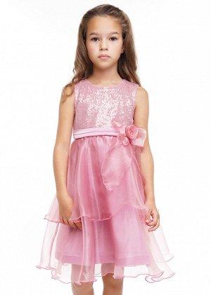 Платье Состав: 100%ПЭ Сезон: Осень, Зима Цвет: розовый  Роскошное платье в нежных тонах. Лиф пайетки и перекрыт сеткой. Подклад 100% хлопок. Пояс атласный, на спине завязан в бант. Спереди бант в виде