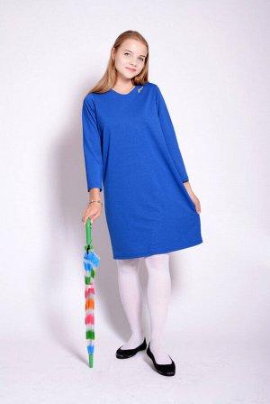 Платье Ткань: Футер (хлопок – 95%, лайкра – 5%) Цвет: Васильковый  Длина изделия 88 см, рукава - 48 см (для 40 размера)