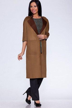 Пальто Ткань: Искусственная замша;  Состав: Вискоза 50%, Полиэстер 50%;  Сезон: Осень, Зима, Весна;  Цвет: Коричневый;