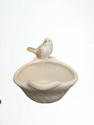 Ваза 1219 Птичка в корзинке 11,8*11,3*10,1см керамика