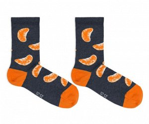 Носки Новинка! Носок классический унисекс гладкий с рисунком в виде долек мандарина. 50% хлопок; 48% ПА; 2% эластан