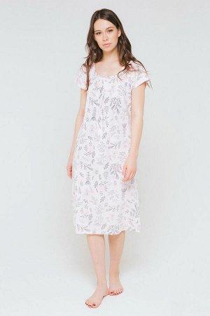 Сорочка Платье-сорочка из хлопкового трикотажа супрем с набивным рисунком. Короткие рукава. Спереди застроченные складки и декоративные пуговицы.100% хлопок