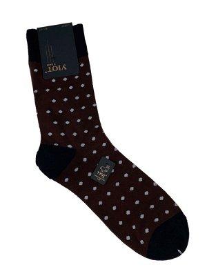 Мужские хлопковые носки в горошек, цвет коричневый