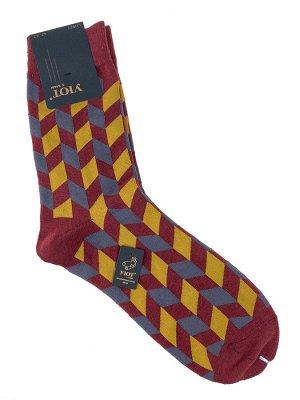 Антибактериальные мужские носки с орнаментом, цвет бордовый с серым и жёлтым