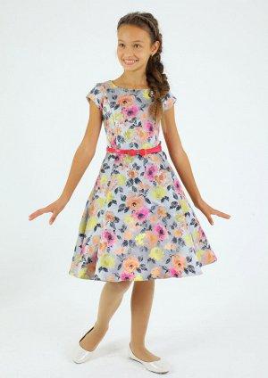 Платье Количество в упаковке: 1; Артикул: СС-ПЛ-6691; Цвет: РазноцветныйСкачать таблицу размеров                                                Нарядное платье изнабивного атласа с цветочн