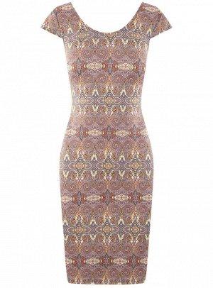 Платье трикотажное с глубоким вырезом на спине