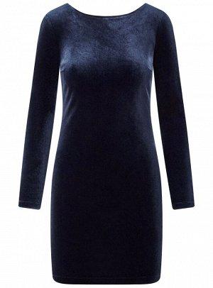 Платье бархатное с V-образным вырезом на спине