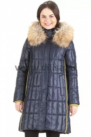 Пальто с мехом Mishele 16112-2_Р (Синий D7)