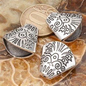 Шапочки-конусы, р-р 20х19х11мм, отв-я 2мм и 17х9мм, ювелирный сплав, цвет античное серебро.