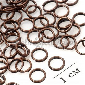 Колечки соединительные двойные железные с гальваническим покрытием цвета медь, р-р. 6х0.5мм.