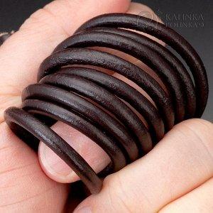 Шнур кожаный, круглый, цвет темно-коричневый, диам. 3мм.