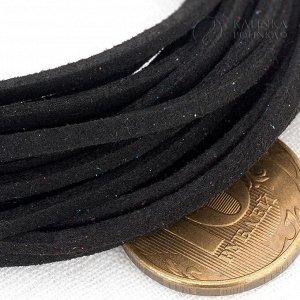 Шнур под замшу, хлопковый, цвет чёрный, р-р 2.5х1.4мм, продается отрезками по 1м