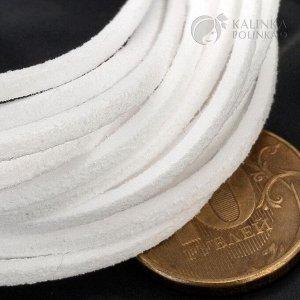 Шнур под замшу, хлопковый, цвет белый, р-р 2.5х1.4мм, продается отрезками по 1м