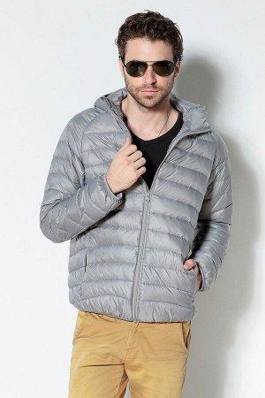 Ультралегкая мужская куртка с капюшоном, цвет светло-серый