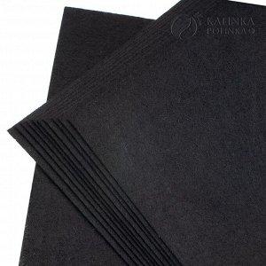 Фетр декоративный, полиэстровый, р-р 20х30см, толщина 1мм, черный, пр-во КНР.