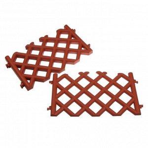 Ограждение декоративное, 41 ? 278 см, 4 секции, пластик, коричневое, BAROKKO, Greengo