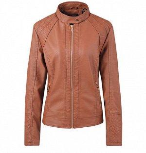 Женская куртка из эко-кожи, на молнии, воротник на кнопке, цвет коричневый