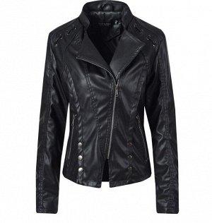 Женская куртка-косуха из эко-кожи, декоративные элементы на плечах, цвет черный
