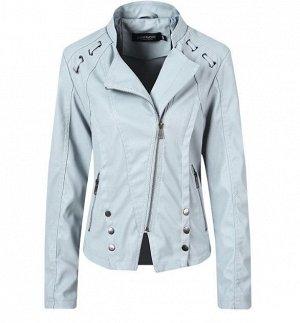 Женская куртка-косуха из эко-кожи, декоративные элементы на плечах, цвет голубой