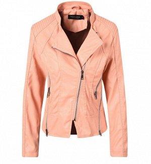 Женская куртка-косуха из эко-кожи, цвет нежно-розовый