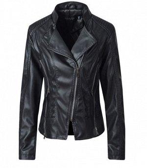 Женская куртка-косуха из эко-кожи, цвет черный