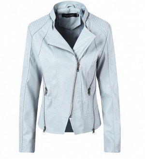 Женская куртка-косуха из эко-кожи, цвет голубой