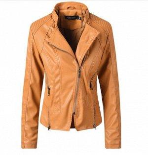 Женская куртка-косуха из эко-кожи, цвет коричневый
