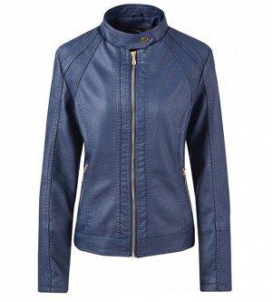 Женская куртка из эко-кожи, на молнии, воротник на кнопке, цвет синий