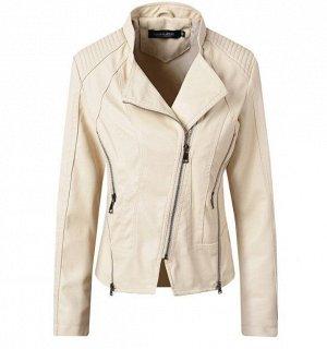 Женская куртка-косуха из эко-кожи, цвет кремовый