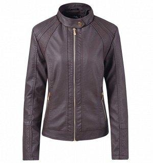 Женская куртка из эко-кожи, на молнии, воротник на кнопке, цвет темно-коричневый
