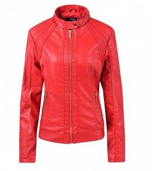 Женская куртка из эко-кожи, на молнии, воротник на кнопке, цвет красный
