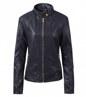 Женская куртка из эко-кожи, на молнии, воротник на кнопке, цвет черный