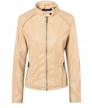 Женская куртка из эко-кожи, на молнии, цвет кремовый