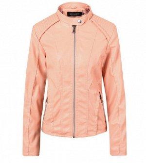 Женская куртка из эко-кожи, на молнии, цвет нежно-розовый