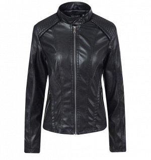 Женская куртка из эко-кожи, на молнии, цвет черный