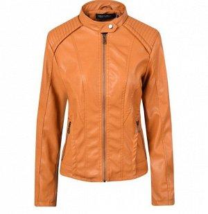 Женская куртка из эко-кожи, на молнии, цвет куркумы