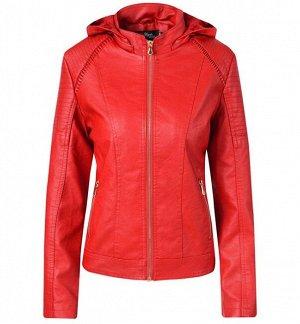 Женская утепленная куртка из эко-кожи, с капюшоном, цвет красный