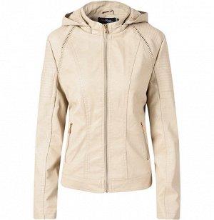 Женская утепленная куртка из эко-кожи, с капюшоном, цвет кремовый