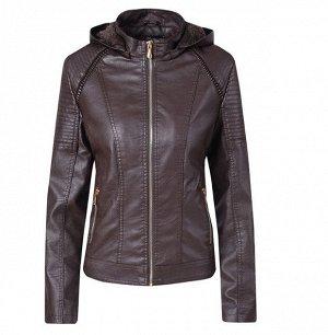Женская утепленная куртка из эко-кожи, с капюшоном, цвет темно-коричневый