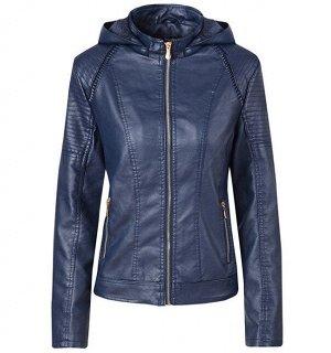 Женская утепленная куртка из эко-кожи, с капюшоном, цвет синий