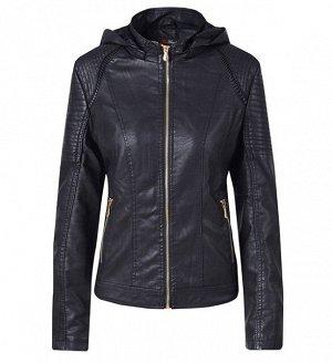 Женская утепленная куртка из эко-кожи, с капюшоном, цвет черный
